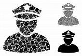 Army Sergeant Mosaic Of Uneven Pieces In Variable Sizes And Color Tints, Based On Army Sergeant Icon poster