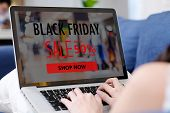 Woman Hands Using Laptop Computer For Shopping Black Friday Online Sale, E Commerce, Discount Online poster