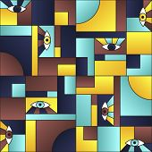 Flat Pattern With Eyes In Geometric Shapes Grid Mondrian Avant Garde Fashion Textile Print. Modern B poster