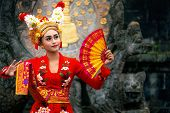 Balinese Girl Performing Traditional Dress, Indonesian Girl Dance With Hindu Temple Background, Indo poster
