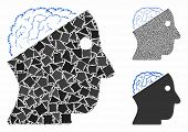 Open Brain Mosaic Of Tremulant Items In Various Sizes And Color Hues, Based On Open Brain Icon. Vect poster