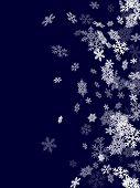 White Snowflakes Border Magic Vector Background. Macro Snowflakes Flying Border Design, Holiday Card poster