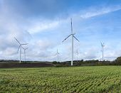 Rural Landscape With Wind Turbines And Freshly Mown Grass Under Blue Cloudy Sky In German Eifel Duri poster