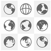 Set Of Earth Planet Globe Logo Design Vector. Earth Planet Globe Logo Icons For Web And App. Vector  poster