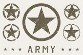 Set Of Army Star Grunge Effect. Military Insignia Symbol poster