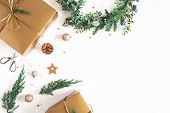 Christmas Composition. Gift Box, Wreath, Golden Decoration On White Background. Christmas, Winter, N poster