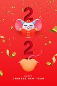 Chinese New Year 2020 Greeting Card Of Funny Rat Cartoon In Traditional Costume Inside Papercut Cale poster