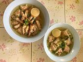 Hot Soup Crispy Pork And Wontons On Bowl, Thai Food poster