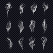 Set Of Isolated Cigarette Smoke Or Censer Steam, Incense Or Marijuana Flame, Realistic Hookah Smoke, poster