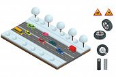 Isometric Slippery, Ice, Winter, Snow Road And Cars. Caution Snow. Winter Driving And Road Safety. U poster