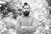 Fashion Portrait Of Man. Hair Beard Care. Guy In Forest. Summer Camping. Serious Bearded Man. Mature poster