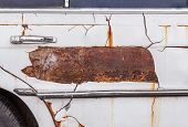 Rusty Car Door With Handle ,old Chrome Car Door Handle Bar Close Up Image poster