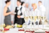 picture of buffet lunch  - Aperitif champagne for business meeting conference participants - JPG