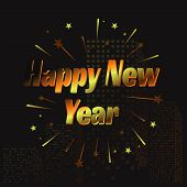Happy New Year Letter Modern Style Background. January 1 Holiday Background With Building And Splash poster