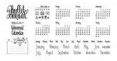 Bullet Journal Universal Calendar. Hand Written Cute Calendar, Names Of Months And Days Of Week. Bul poster