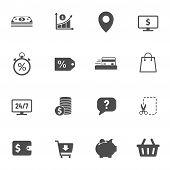 E-commerce Vector Icons Set Isolated On White Background. Business Commerce Comcept. E Commerce Flat poster