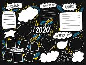 Vision Board Template With Space For Goals, Dreams List, Travel Plans And Inspiration. Collage Frame poster