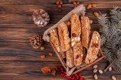 Traditional Italian Christmas New Year Dry Cookies Biscuits Biscotti Cantuccini Over On Wooden Backg poster