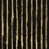 Gold Gliterring Shining Stripe Grunge Seamless Pattern. Golden Stripes On Black Watercolour Backgrou poster