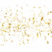 Gold Shiny Confetti Flying On White Holiday Poster Background. Beautiful Flying Tinsel Elements, Gol poster