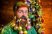 Christmas Beard Decorations. Santa Claus Wishes Merry Christmas. Christmas Celebration Holiday. Them poster