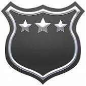 Blank Black Shield With Ribbon. Grey Shield. Premium Quality Banner Design. 3D Illustration. poster