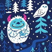 Cartoon Bigfoot Or Yeti Loves The Birds. Fantasy Vector Art poster
