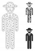 Mesh Security Agent Model With Triangle Mosaic Icon. Wire Frame Polygonal Network Of Security Agent. poster