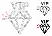 Mesh Vip Brand Model With Triangle Mosaic Icon. Wire Frame Polygonal Mesh Of Vip Brand. Vector Mosai poster