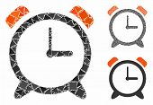 Alarm Clock Mosaic Of Abrupt Items In Different Sizes And Shades, Based On Alarm Clock Icon. Vector  poster