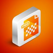 Isometric Png File Document. Download Png Button Icon Isolated On Orange Background. Png File Symbol poster