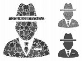 Spy Person Mosaic Of Inequal Parts In Different Sizes And Color Hues, Based On Spy Person Icon. Vect poster