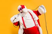 Merry X-mas Carols From Crazy Overweight White Hair Christmas Grandfather Hold Microphone Sing Song  poster