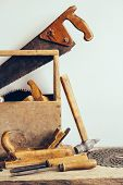 Old Wooden Tool Box Full Of Tools. Old Carpentry Tools. Still Life. Place For Your Text poster