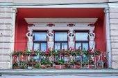 Details Of Balcony With Caryatids Statues In Sighetu Marmatiei Town, Romania poster