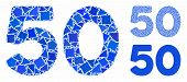 50 Digits Text Mosaic Of Joggly Pieces In Different Sizes And Color Hues, Based On 50 Digits Text Ic poster