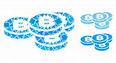 Bitcoin Coins Mosaic Of Ragged Pieces In Different Sizes And Color Tones, Based On Bitcoin Coins Ico poster
