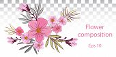 Tender Floral Arrangement. Pink Flowers And Buds With Leaves. Vector Romantic Garden Flowers.tropica poster