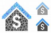 Loan Mortgage Mosaic Of Bumpy Parts In Variable Sizes And Shades, Based On Loan Mortgage Icon. Vecto poster