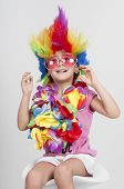 Funny Little Girl In Disguise With Wig And Sunglasses poster