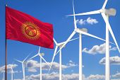 Kyrgyzstan Alternative Energy, Wind Energy Industrial Concept With Windmills And Flag - Alternative  poster