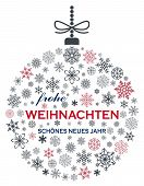 Christmas Bauble Vector. Snowflakes, Hanger And German Christmas Greetings On White Background. Tran poster