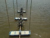 Turbine Rotates The Surface To Increase Oxygen In Fish Pond And Shrimp Pond. Turbine And Shrimp Farm poster