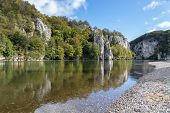 Danube Valley At Danube Breakthrough Near Kelheim, Bavaria, Germany In Autumn With Gravel Bank  And  poster
