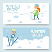 Skiing And Winters Sports Vector Banners Set. Cartoon Illustration Of Skier Girl On Snowy Hill And S poster