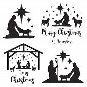 Collection Birth Of Christ Scene Card. Merry Christmas Banner Set With Nightly Christmas Cribe With  poster