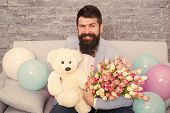 Romantic Gift. Macho Ready Romantic Date. Man Wear Blue Tuxedo Bow Tie Hold Flowers Bouquet. Romanti poster