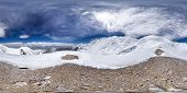 Spherical Panorama Of The Pamir Mountain. Slope Of Lenin Peak To An Altitude Of 5900 Meters. Spheric poster