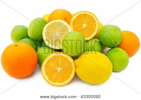 Group Of Orange, Limes And Lemon Citrus Fruits