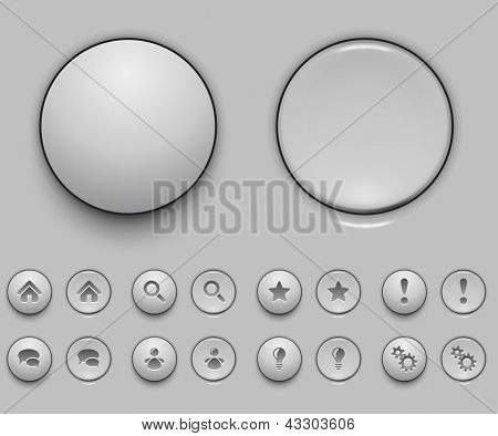 Blank white push button template vector illustration.